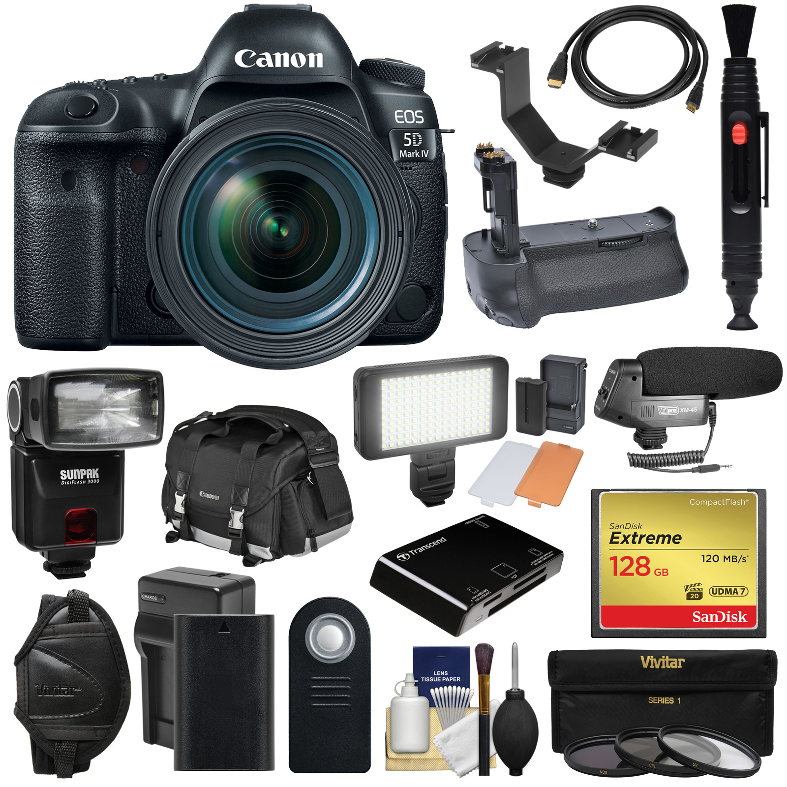 Canon EOS 5D Mark IV 4K Wi-Fi Digital SLR Camera & 24-70mm f 4L IS USM Lens + 128GB CF Card + Battery &... by Canon