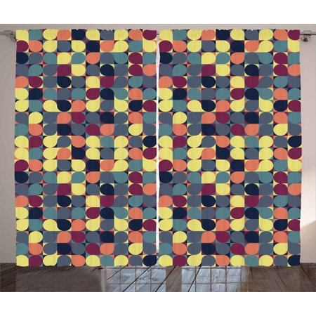 retro curtains 2 panels set pastel color circular shapes in squares mosaic pattern modern geometric - Retro Curtains