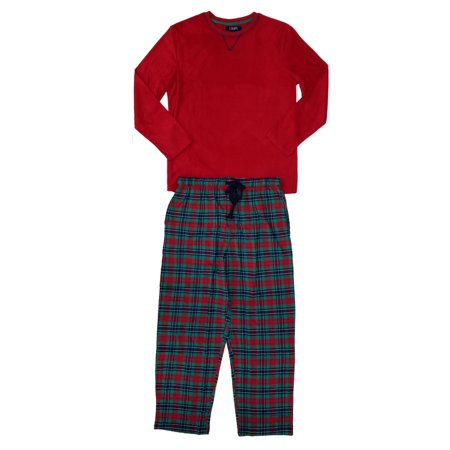Plaid Flannel Pajama Top - Chaps Mens Red Microfleece Shirt & Green Plaid Flannel Pants Pajama Set
