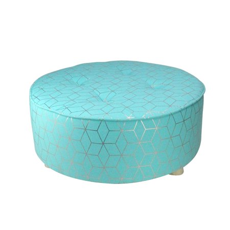 """20"""" Blue and Copper Geometric Print Cotton Canvas Round Stool - image 1 of 2"""