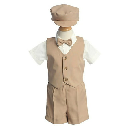 Boys Khaki Vest Shorts Easter Ring Bearer Formal Wear Suit 12M-4T (Ring Bearer Suit)