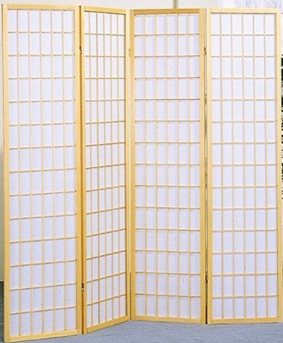 4 Panel Japanese Shoji Screen Room Divider Natural Wood Finish