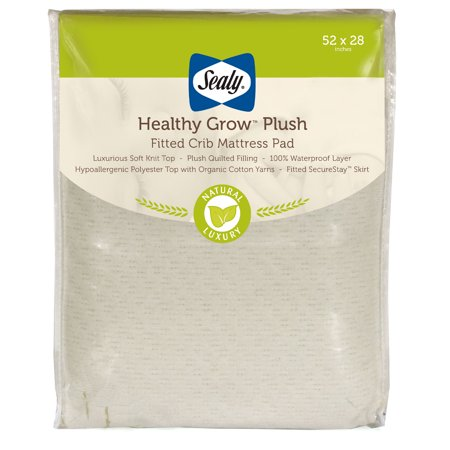 Sealy Healthy Grow Plush Waterproof Crib and Toddler Mattress Protector Pad, Cream and