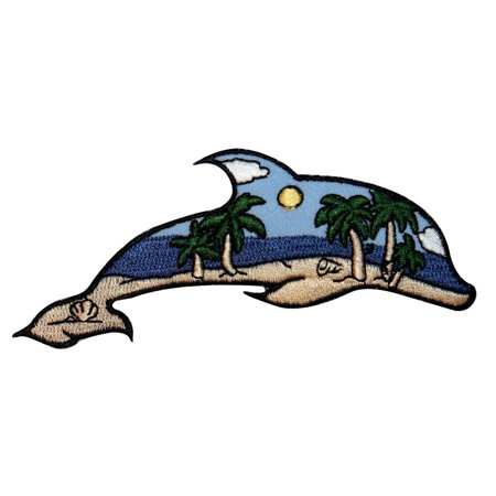 ID 1695 Beach Scene Dolphin Patch Ocean View Craft Embroidered Iron On -