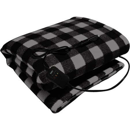 Sojoy 12V Heated Travel Electric Blanket for Car, Truck,Boats or RV with High/Low Temp control Checkered Black and White(60