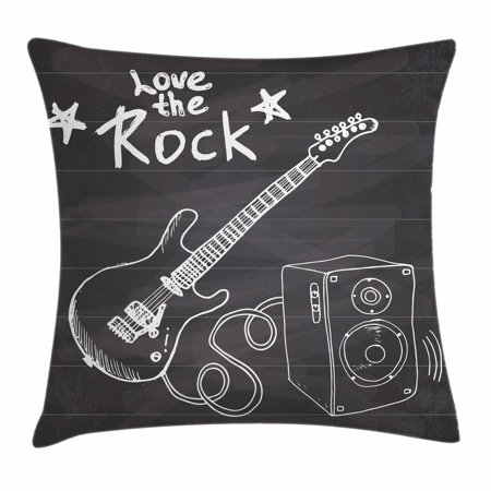 Guitar Throw Pillow Cushion Cover, Love The Rock Music Themed Sketch Art Sound Box and Text on Chalkboard Print, Decorative Square Accent Pillow Case, 18 X 18 Inches, Dark Taupe White, by Ambesonne