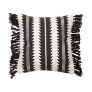 Foreside Home & Garden Black and White 20 x 20 inch Decorative Cotton Throw Pillow Cover with Insert and Hand Tied Fringe