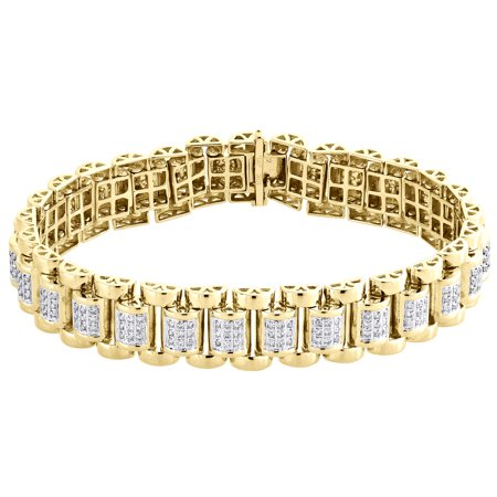 10K Yellow Gold Diamond Jubilee Style Statement Link Bracelet 8.5