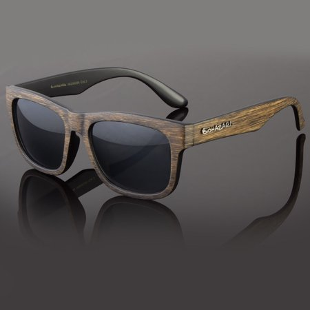 Classic Retro Womens Men Eyewear Sunglasses Faux Wood Reflective Color (Wood Eyewear)
