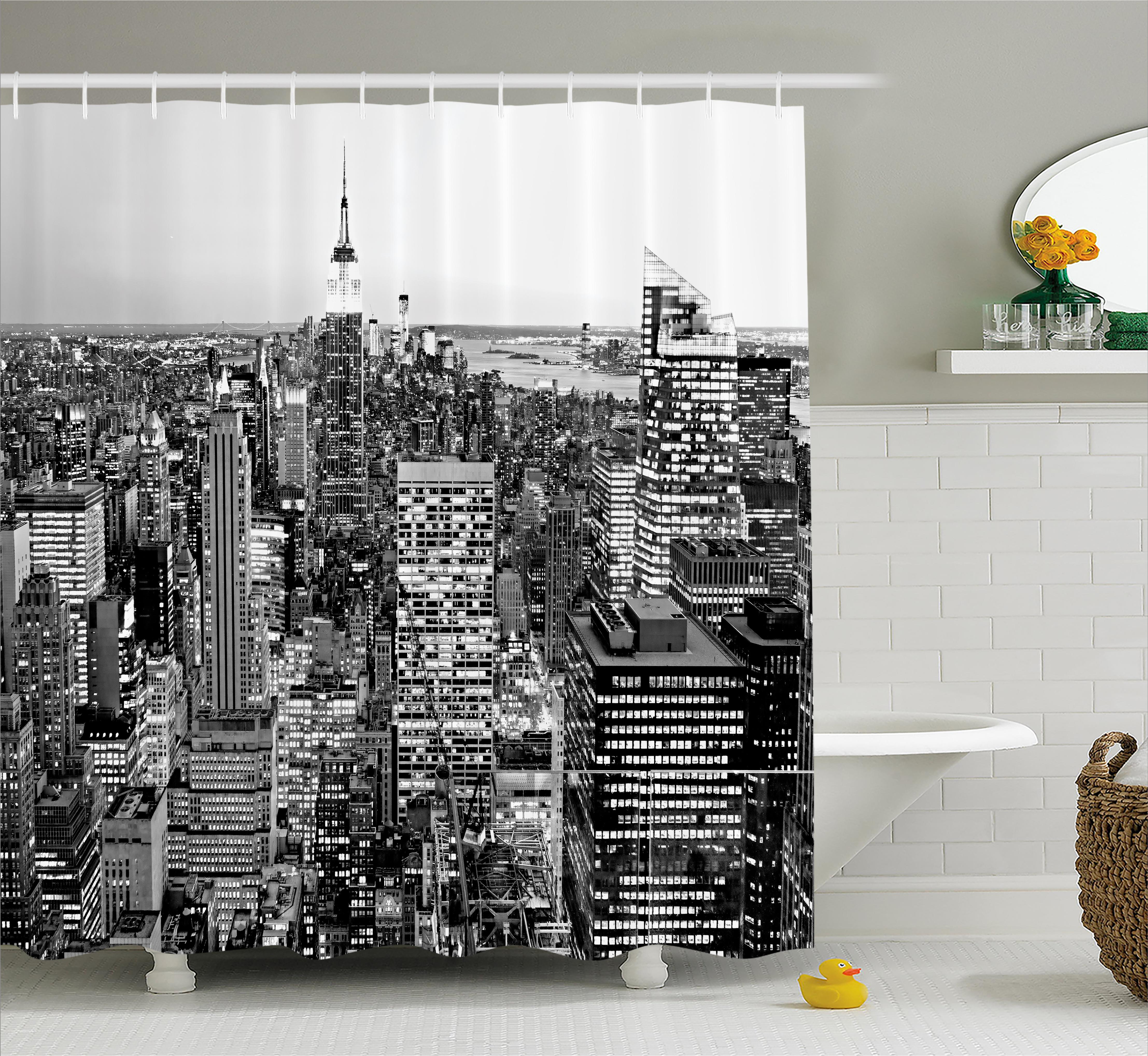 New York Shower Curtain, Panorama of Manhattan High Buildings of City Famous Monument USA Black and White Photo, Fabric Bathroom Set with Hooks, 69W X 70L Inches, Grey, by Ambesonne