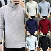 Men Winter Warm Sweater Long Sleeve Pullover Tops Turtleneck Slim Jumper