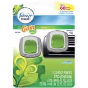 Car Vent Clips Gain Original Air Freshener, .13 oz, 2-Count
