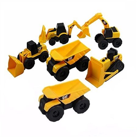 CAT Mini Machine Caterpillar Construction Truck Toy Cars Set of 6, Dump Truck x 2, Bulldozer, Wheel Loader, Excavator and Backhoe Free-Wheeling Vehicles w/Moving Parts -Great Cake Toppers (Wheeling Truck Center)