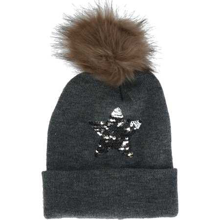 Size  one size Girls' Sequins Cuff Beanie Hat with Pom