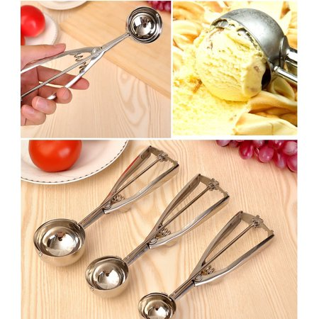 INTBUYING 3 Size Stainless Steel Ice Cream Scoop Spoon Spring Handle Masher Cookie Scoop 249114 (Size 30 Cookie Scoop)