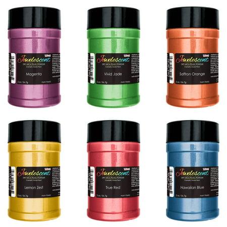 U.S. Art Supply Jewelescent Ultra Bright 6 Color Mica Pearl Powder Pigment Kit, 2 oz (57g) Non-Toxic Metallic Color - Pigment Powders
