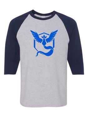 4dd62daf Product Image Pokemon Go Gym Team Mystic Blue Mens Womens 3/4 Raglan Sleeve  T-Shirt