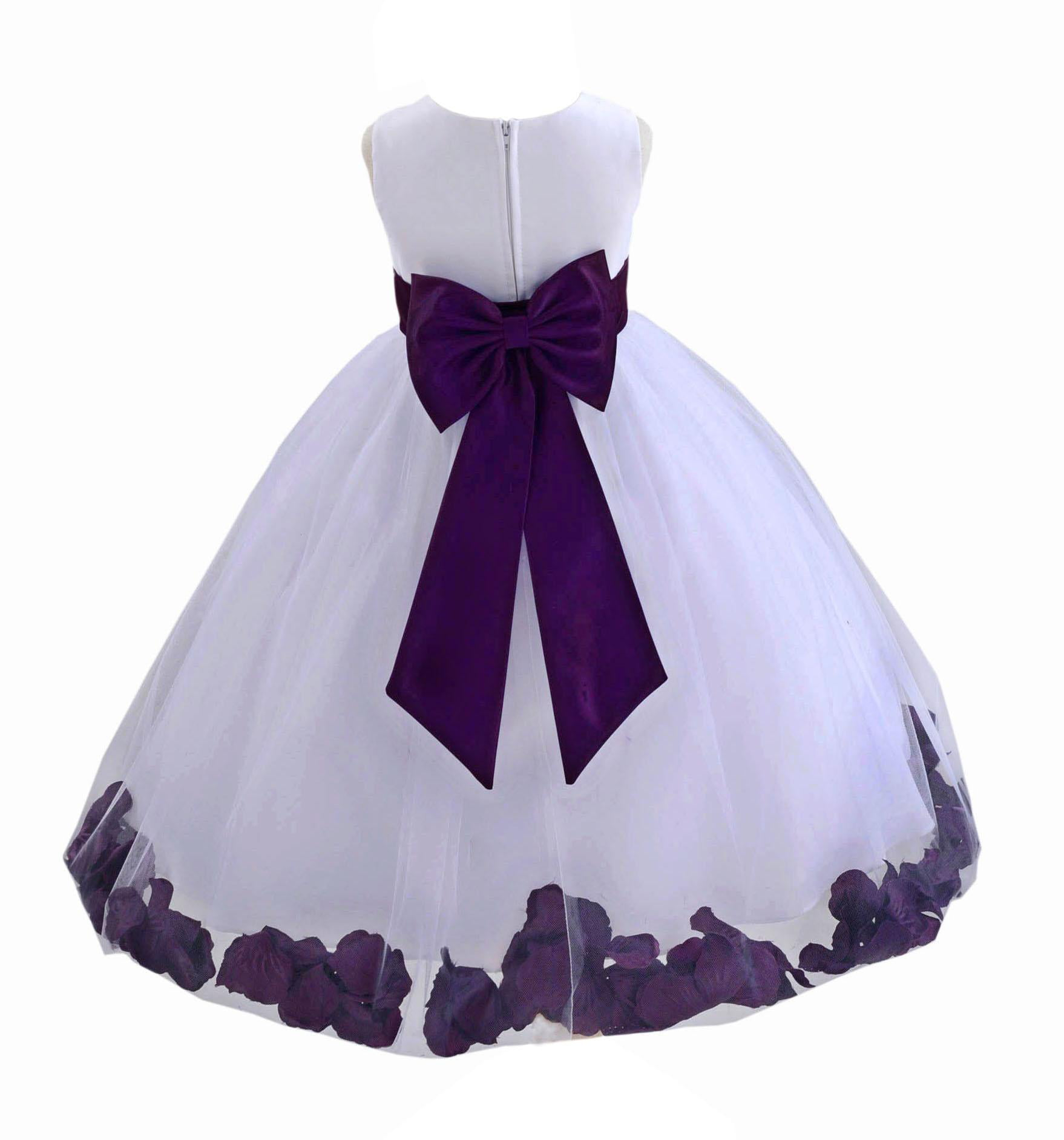 Ekidsbridal Wedding Pageant Rose Petals White Tulle Flower Girl