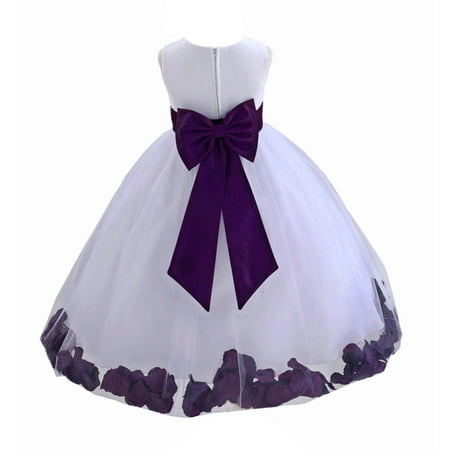 Ekidsbridal Wedding Pageant Rose Petals White Tulle Flower Girl Dress Toddler Special Occasion 302T purple - Out Dress Girl