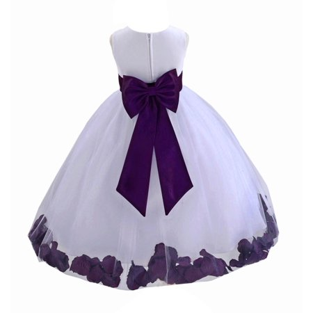 Ekidsbridal Wedding Pageant Rose Petals White Tulle Flower Girl Dress Toddler Special Occasion 302T purple