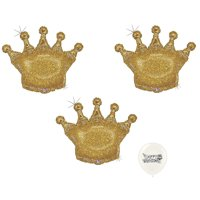 "Royal Gold Glittering Holographic 36"" Crowns Set of 3 Balloons Mylar Supershape Jumbo Party Decorations"