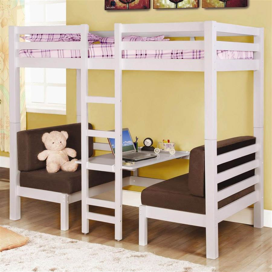 Twin Over Twin Convertible Loft Bunk Bed In White