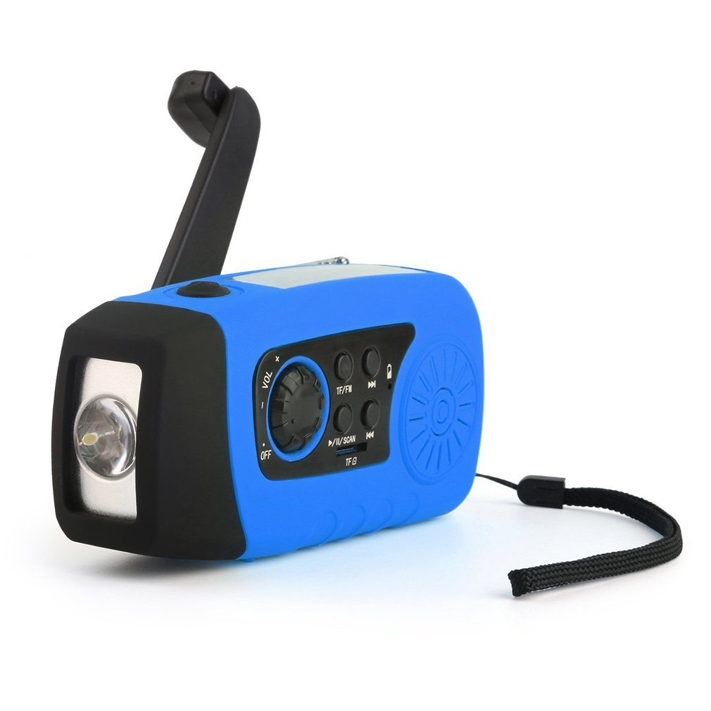 Solar LED Flashlight, OUTAD Portable Hand Crank Self Powered Emergency Radio with 2000mAh Smart Phone Charger, USB Power Bank (Blue) by OUTAD
