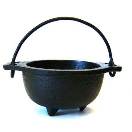 Cast Iron Cauldron w/handle ideal for smudging incense burning ritual purpose decoration halloween decoration candle holder etc. (4