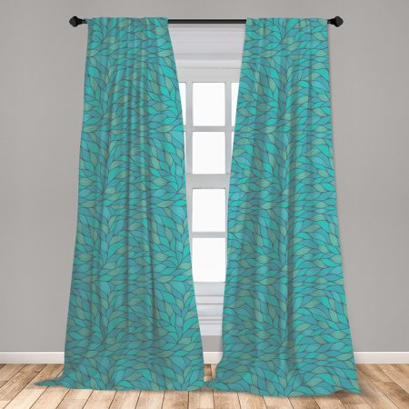 Teal Curtains 2 Panels Set, Abstract Wave Design with Different Colors Ocean Themed Marine Life Pattern Print, Window Drapes for Living Room Bedroom, Blue Mint Green, by Ambesonne