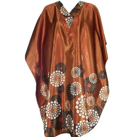 Up2date Fashion's Women's Satin Short Caftan / Kaftan, Spheroid Floral (Floral Print Kaftan)