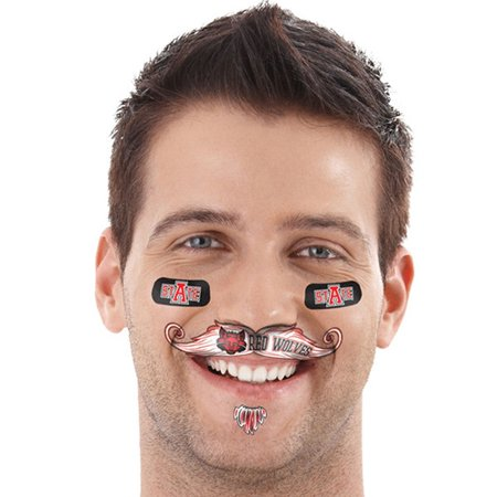 Arkansas State Red Wolves Mustache Temporary Tattoo Pack - No - Finger Mustache Tattoo