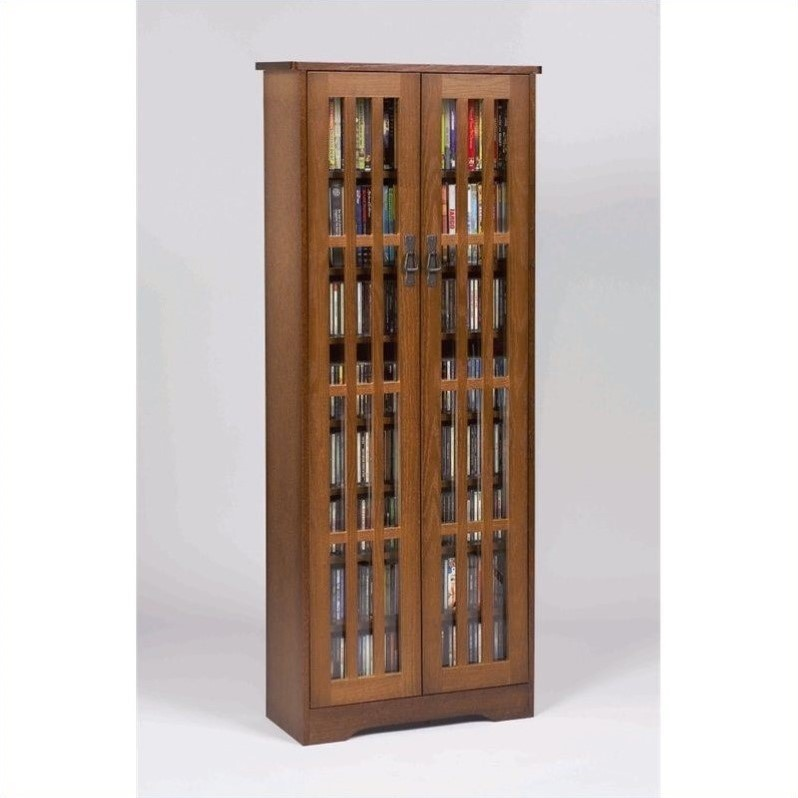 "Leslie Dame 62"" Tall CD DVD Media Storage Cabinet in Walnut"