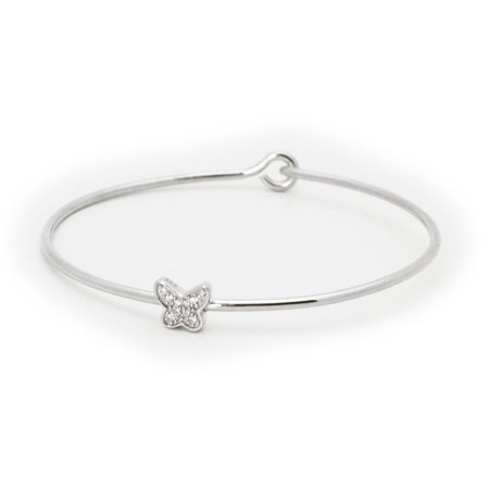 Designer .925 Sterling Silver Thin CZ Butterfly Bangle Bracelet (Bangle Sterling Silver Designer Bracelets)