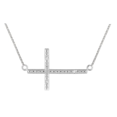 White Natural Diamond Accent Sideways Cross Pendant Necklace 14K White Gold Over Sterling Silver