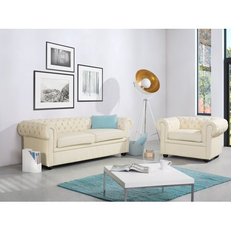 Accent Club Chair Traditional Modern Tufted Beige Leather Chesterfield ()