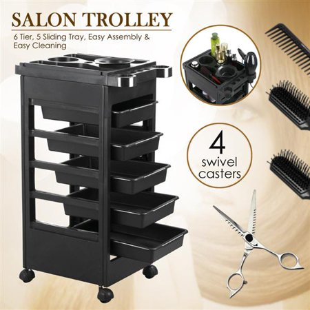 Salon SPA Beauty Hairdressing Rolling Trolley Cart With 5 Drawers Hair Dryer Service Tray Tool Storage Cart