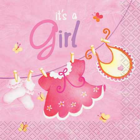 Clothesline Baby Shower Cocktail Napkins, 5 in, Pink, 16ct](Baby Shower Plates Cups Napkins)