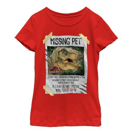 Jurassic Park Girls' T. Rex Missing Pet T-Shirt - Jurassic Park Fancy Dress
