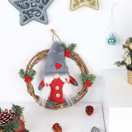 Plush Gnome Rattan Wreath Christmas Garlands With Swedish Santa Tomte Front Door Wreaths For Home Kitchen Wall Window Hall Decor ()