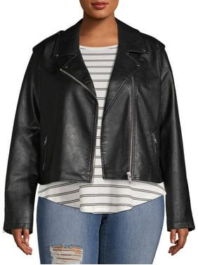 No Boundaries Juniors' Plus Size Vegan Leather Moto Jacket