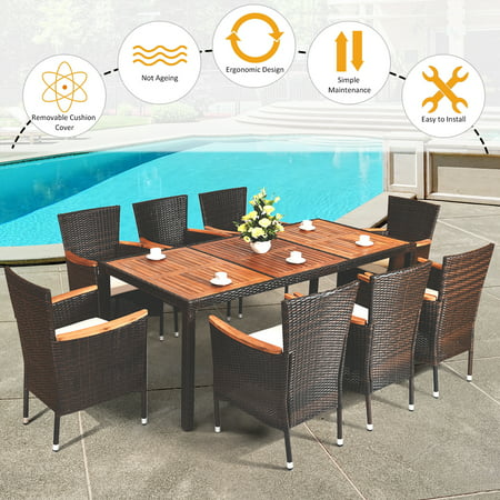 9PCS Patio Rattan Dining Set  8 Chairs Cushioned Acacia Table Top - image 2 of 9