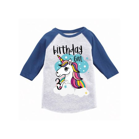 Awkward Styles Birthday Girl Toddler Raglan Unicorn Jersey Shirt 3rd Gifts For 3 Year Old Cute Rainbow Outfit