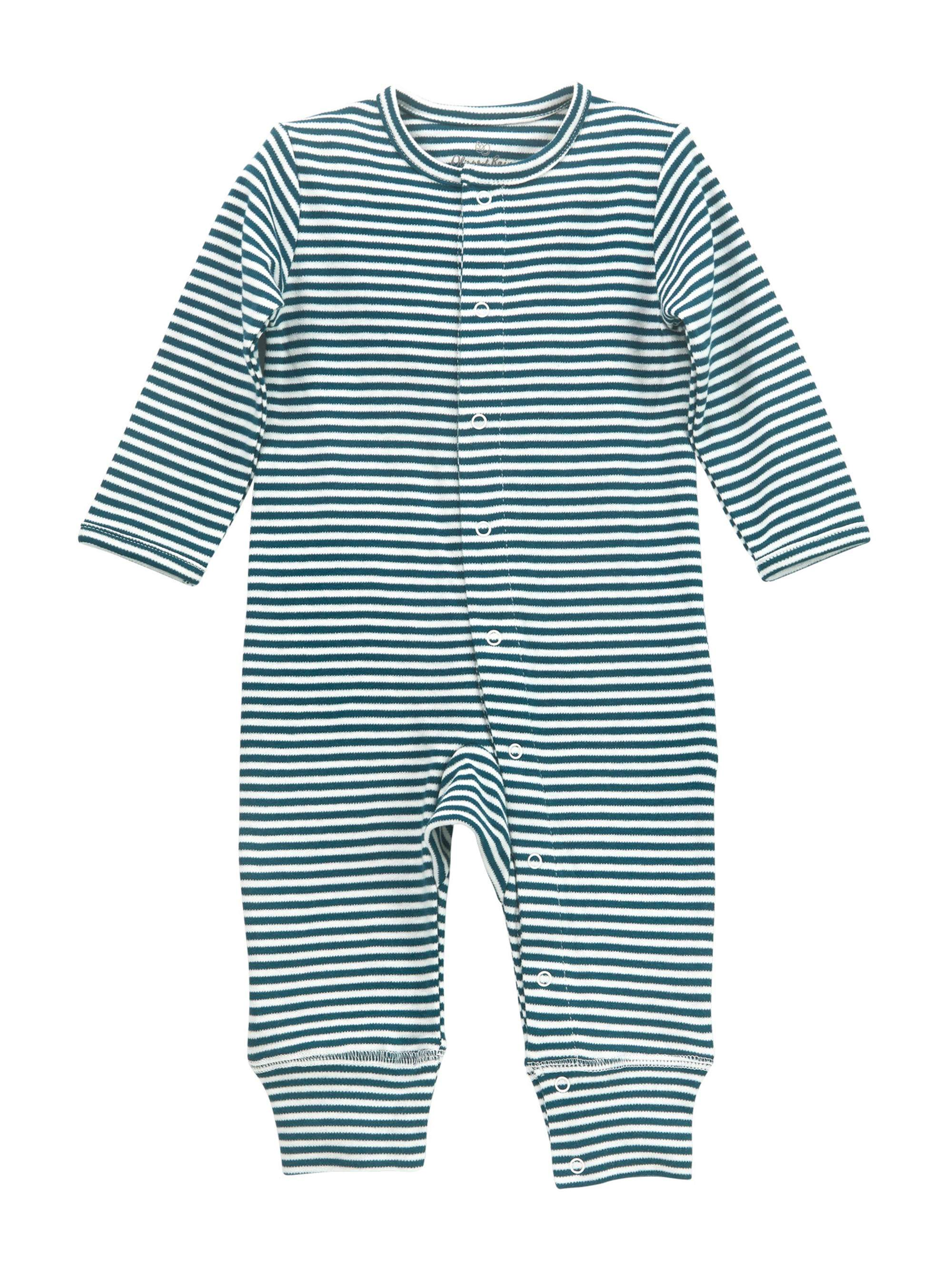 Oliver & Rain Teal Striped Button-Front One Piece Unionsuit Outfit (Baby Girls or Baby Boys Unisex)
