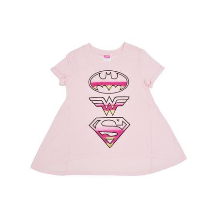 6e51cead DC - DC Superhero Girls T-shirt Supergirl Batgirl Wonder Woman Logo Print  Pink - Walmart.com