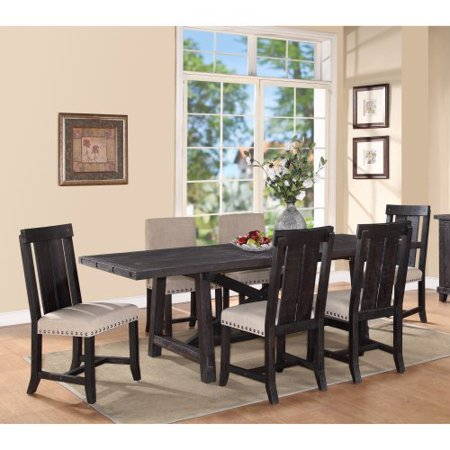 Modus Yosemite 7 Piece Rectangular Dining Table Set with Mixed Chairs - 4 Wood & 2 Upholstered