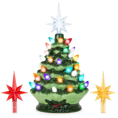 Best Choice Products 9.5in Ceramic Pre-Lit Hand-Painted Tabletop Christmas Tree Holiday Decor with Multicolored Lights, 3 Star Toppers,