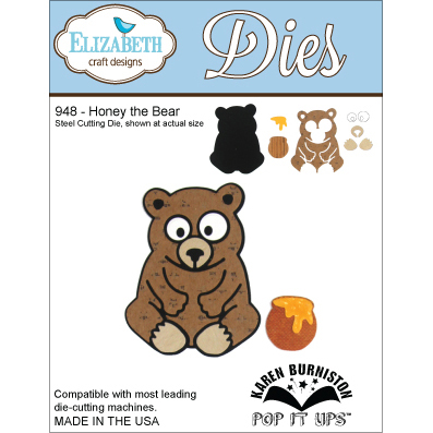 Elizabeth Craft Designs Metal Dies by Karen Burniston-Honey The Bear Multi-Colored