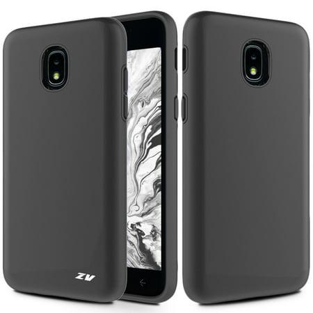 Kaleidio Case For Samsung Galaxy J3 J337 (2018) / Galaxy J3 Star / J3V (3rd Gen) [Sleek Armor] 2-Piece Slim Fit Dual Layer [Shockproof] Impact Cover w/ Overbrawn Prying Tool [Black/Black] (Samsung A197)