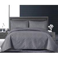 MallenHome Oversized Quilt Coverlet 3-Piece Bedspread Set - Full/Queen Dark Grey Color Floral Pattern