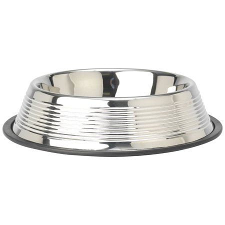 Dorado Designer Embossed Rings Stainless Steel Pet Bowl, 2.5-Quart, Stainless steel design By PetRageous from